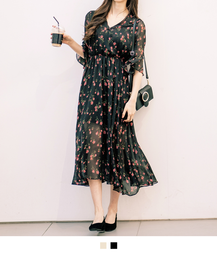 Floral Surplice Neck Midi Dress