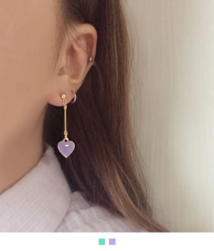 Dangling Colored Heart Earrings