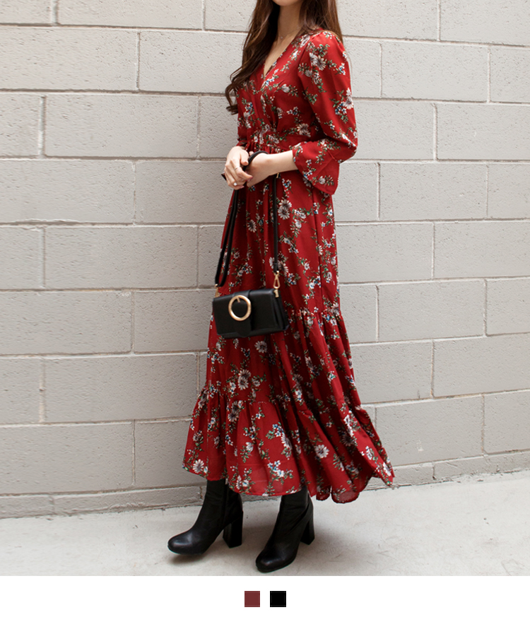 Floral Surplice Neck Maxi Dress
