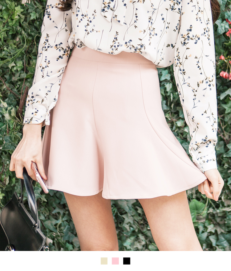 Paneled Zip-Back Flared Mini Skirt