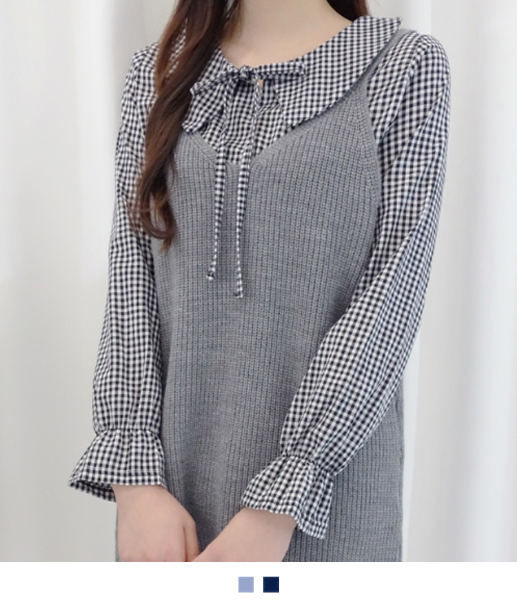 Gingham Check Self-Tie Neck Blouse