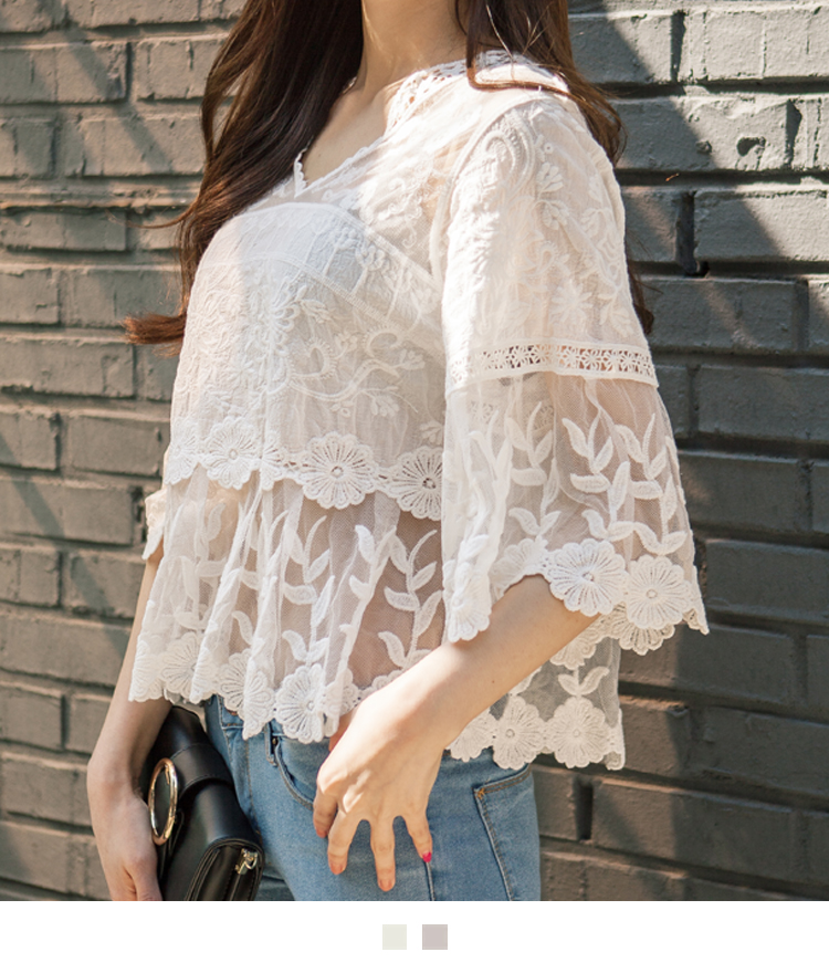 Floral Lace V-Neck Blouse