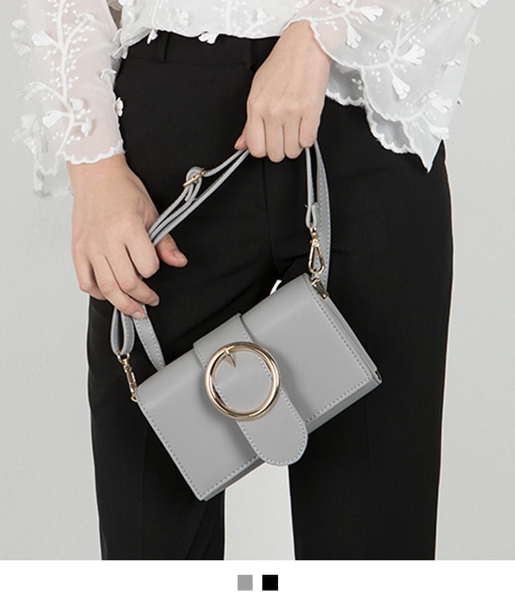 Ring-Buckled Flap Mini Bag