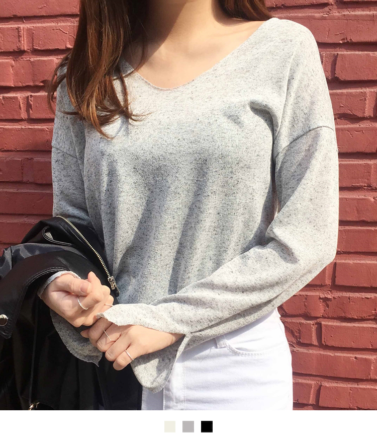 Slit Detail V-Neck Top