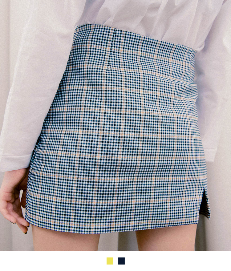 Slit Accent Tartan Check Mini Skirt