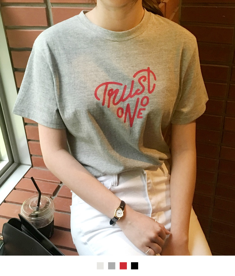 Heart Calligram Print T-Shirt