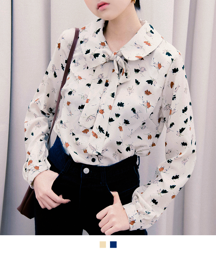 Patterned Ribbon Neck Blouse