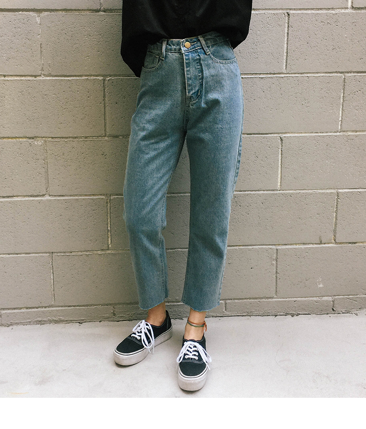 Basic Raw Hem Boyfriend Jeans
