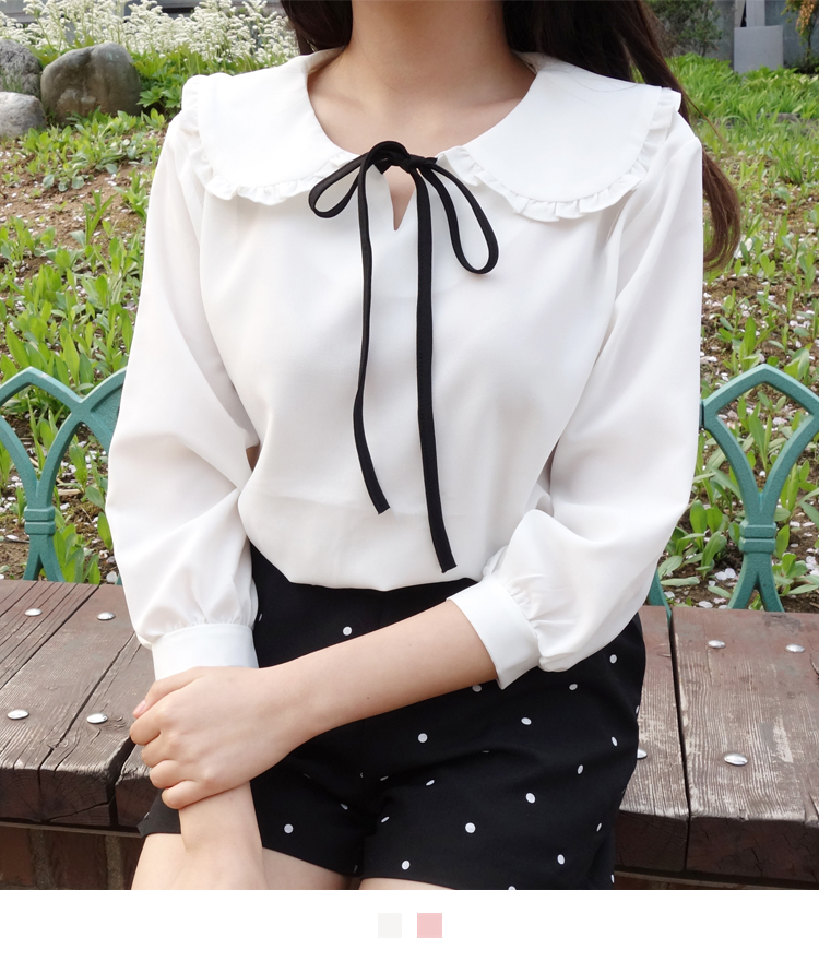 Frilled Collar With Ribbon Blouse