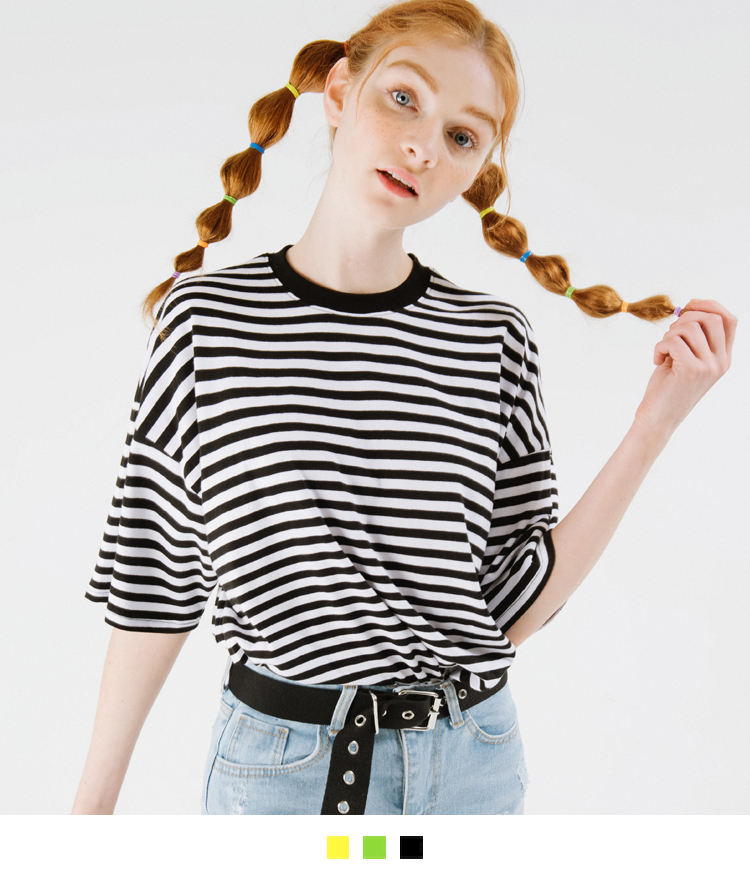 Dropped Shoulder Striped T-Shirt