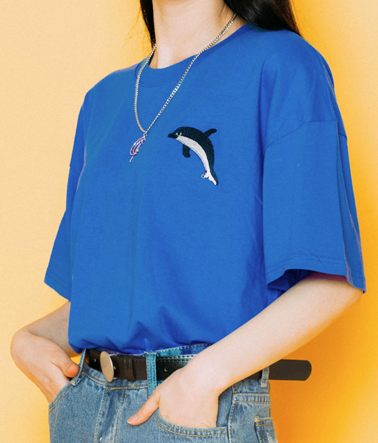 Embroidered Dolphin T-Shirt