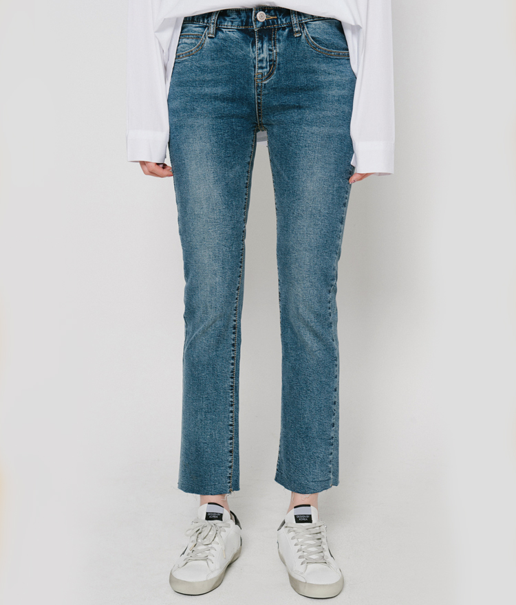 Straight-Leg Raw Hem Denim Jeans