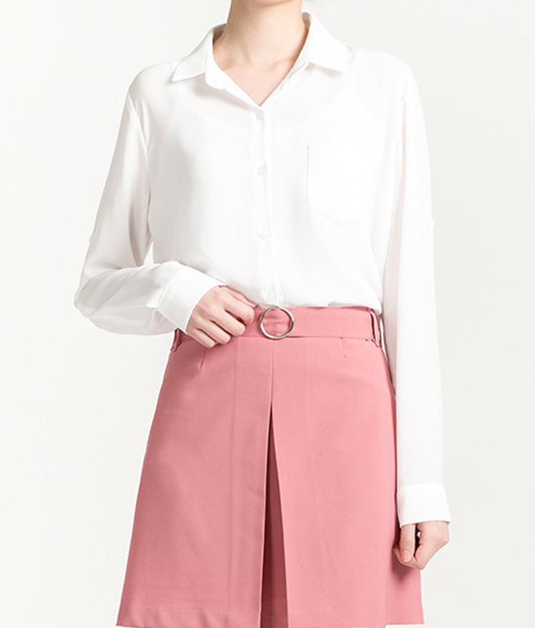 Point Collar Button-Down Blouse