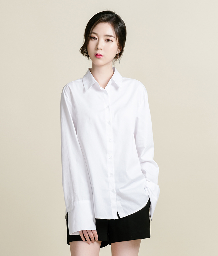 Plain Point Collar Button-Down Shirt