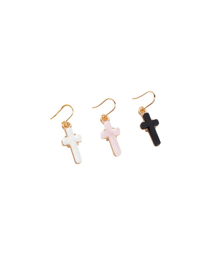 Golden Cross Hook Earrings
