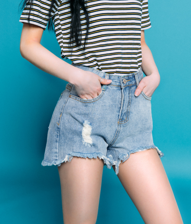 Damaged Frayed Hem Denim Shorts