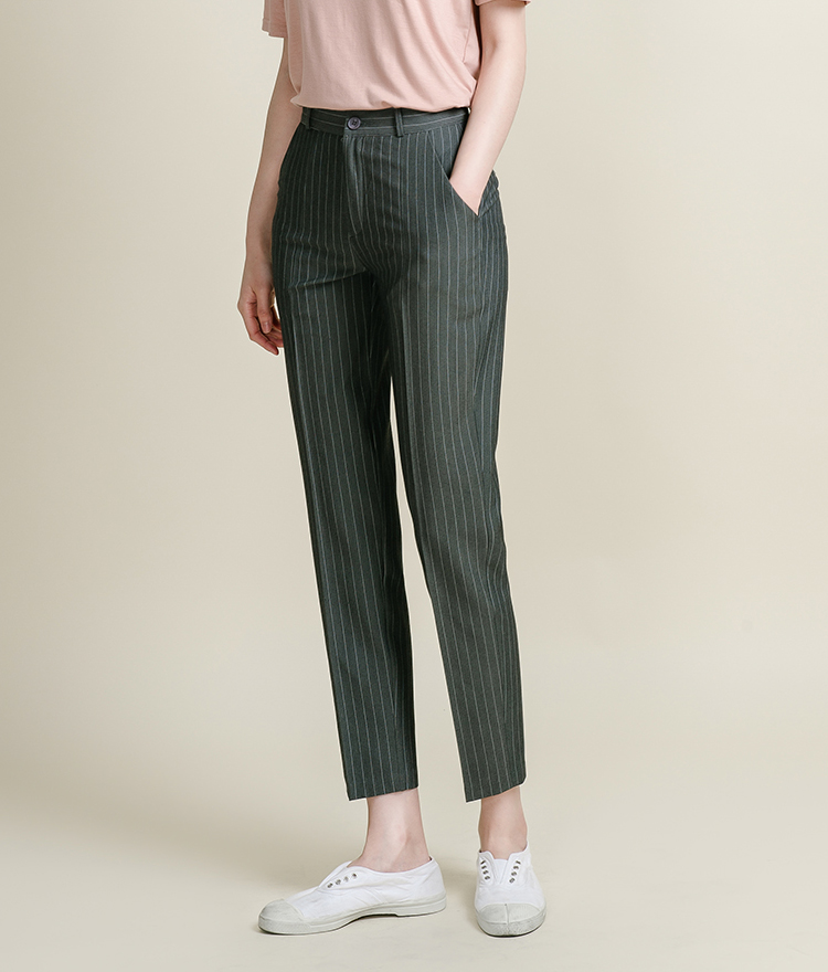 Pinstriped Tapered Slacks