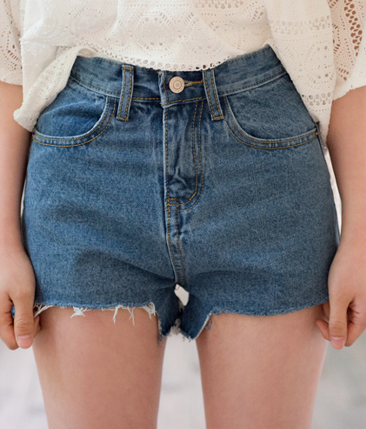 Denim Frayed Hem Mini Shorts