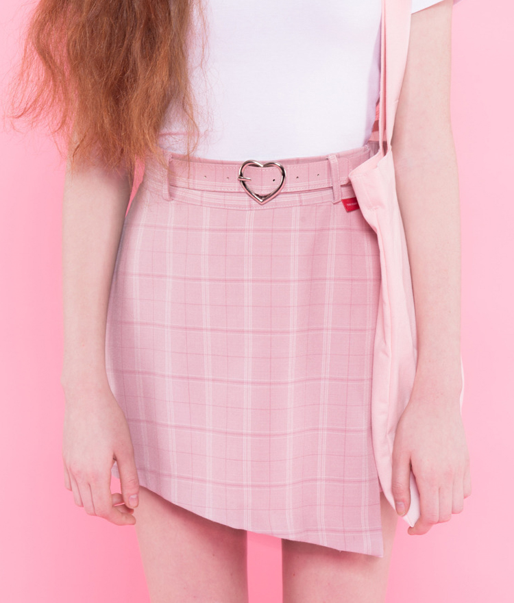 HEART CLUBHeart Buckled Slit Check Skort