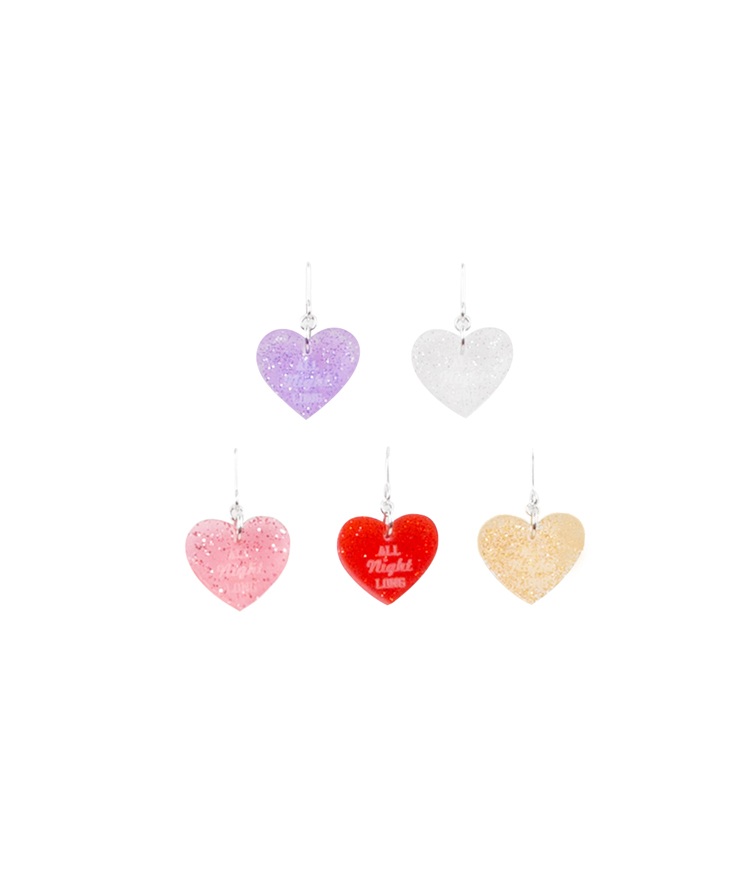SEANLIPGlittered Heart Lettering Earrings