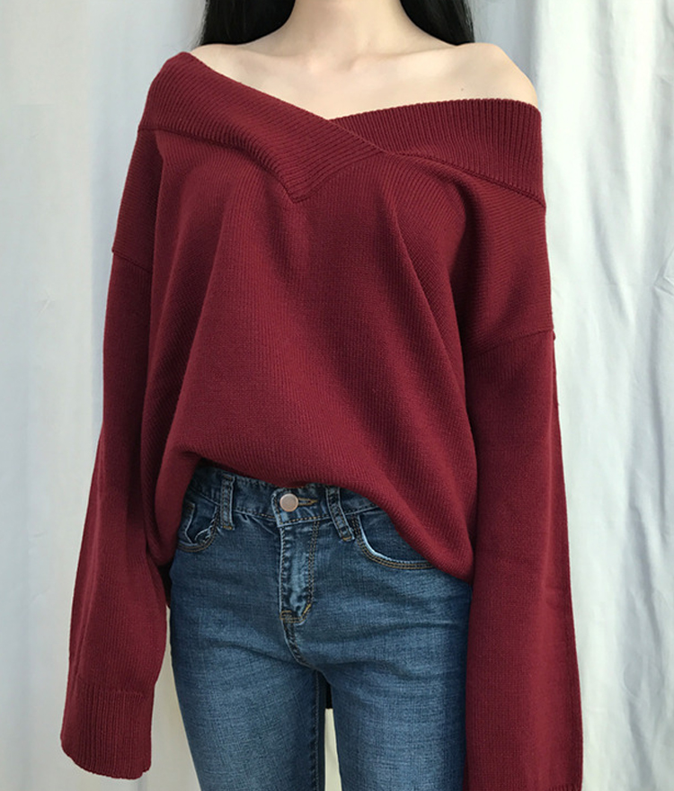 Off-Shoulder Loose Fit Knit Sweater
