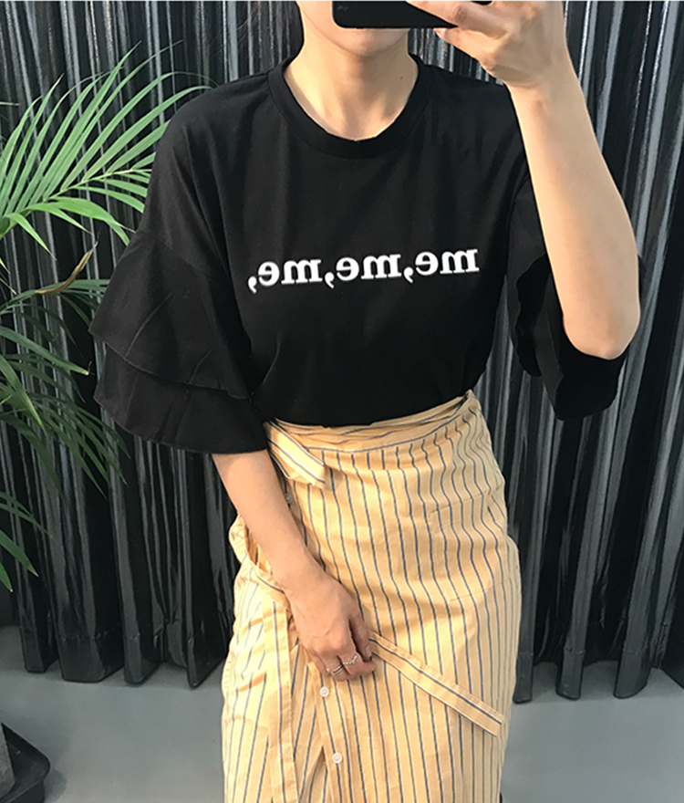Lettering Frill Sleeve T-Shirt
