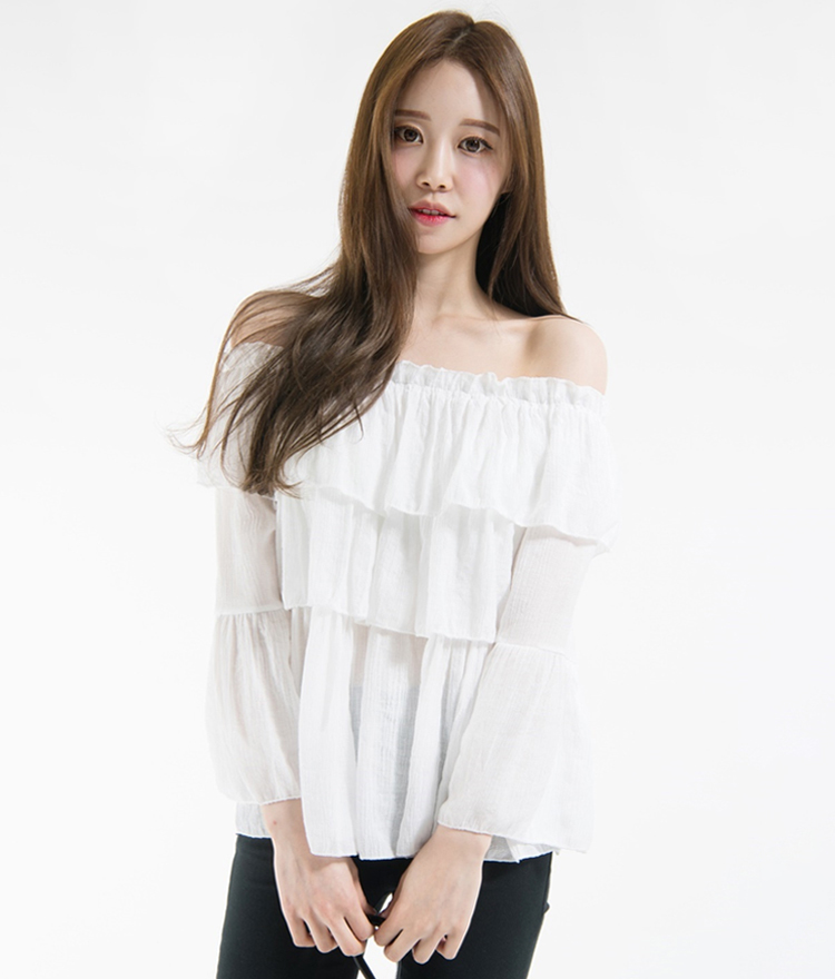 Tiered Frill Detail Off-Shoulder Blouse