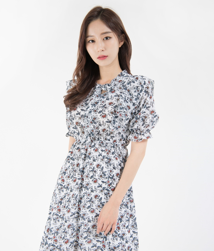 Flower Pattern Tie-Neck A-Line Dress