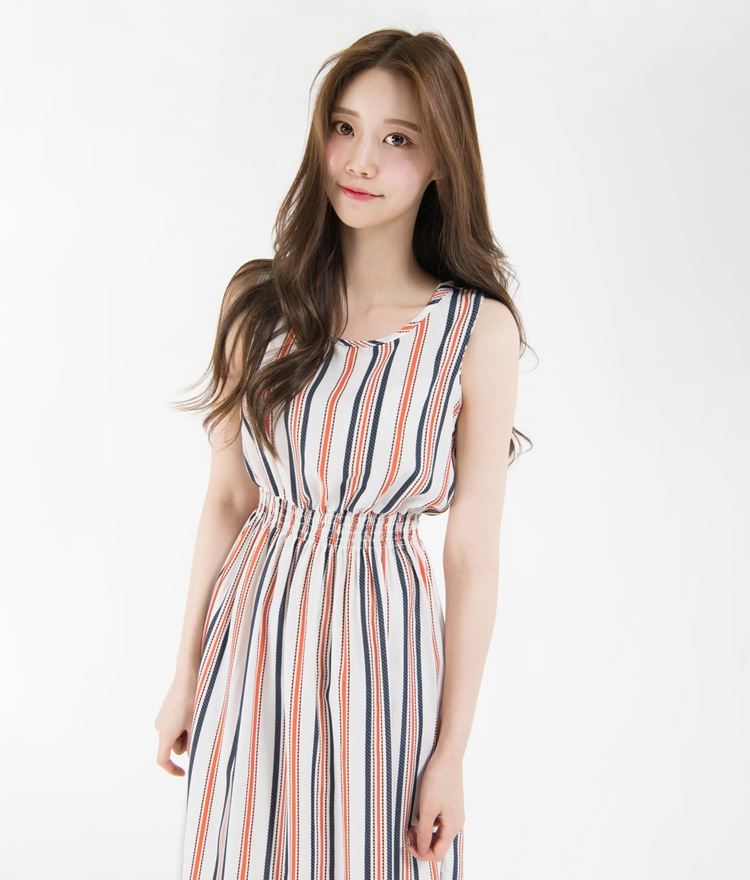 Striped Shirred Waist Midaxi Dress
