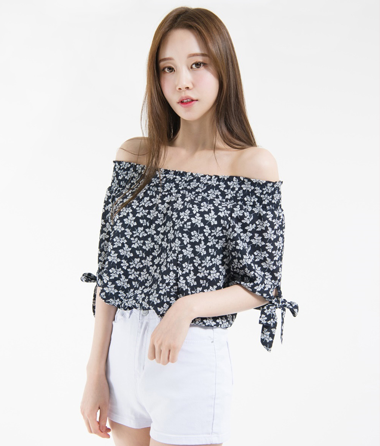 Patterned Tied Sleeve Off-Shoulder Blouse