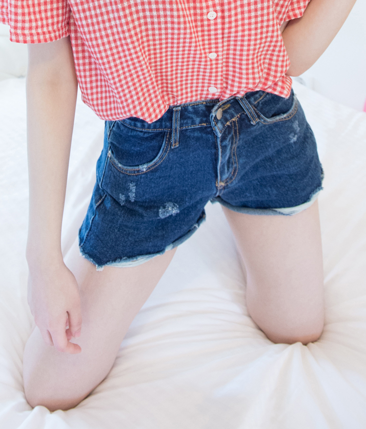 Dark Blue Damaged Denim Shorts