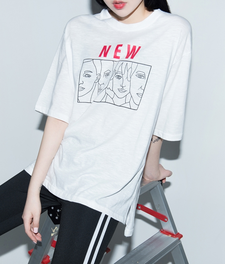 NEW Faces Print T-Shirt