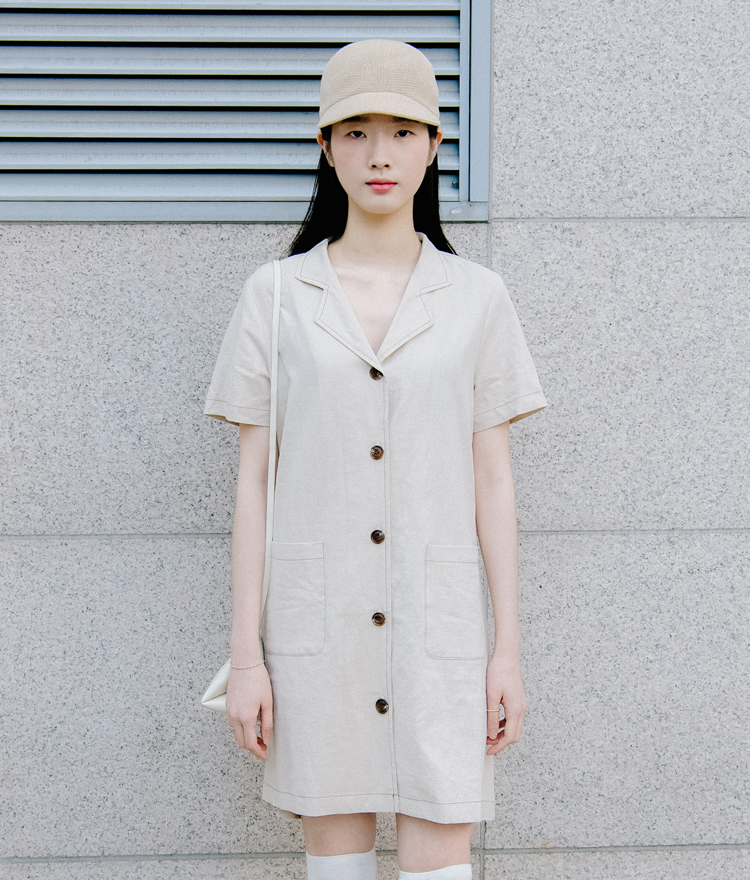 Notched Collar Button-Front Dress