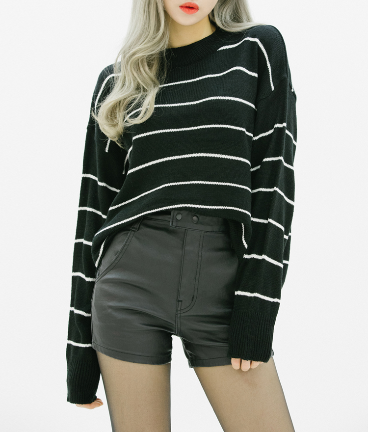 Double Snap Front Faux Leather Shorts