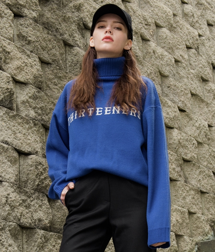 THIRTEENERS Turtleneck Knit Top