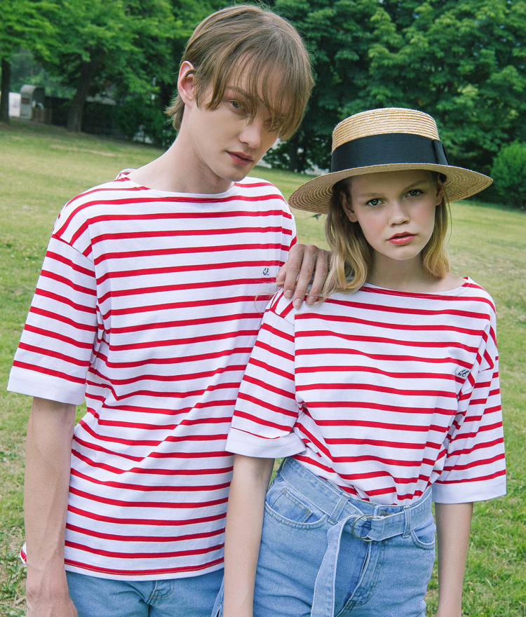 SEEKStripe Logo Embroidered Boat Neck T-Shirt