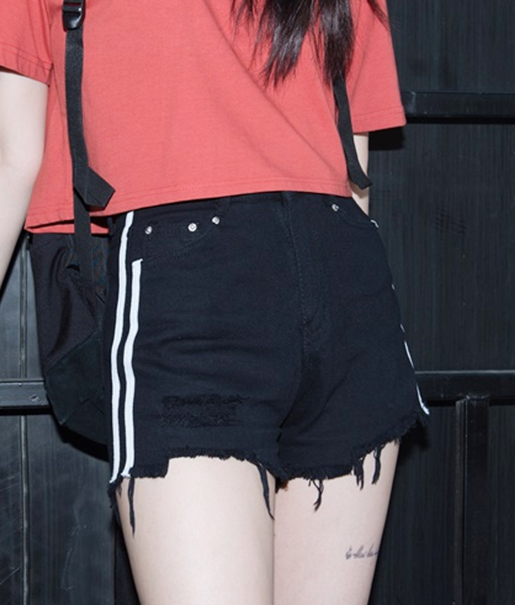 Line Detail Raw Hem Shorts