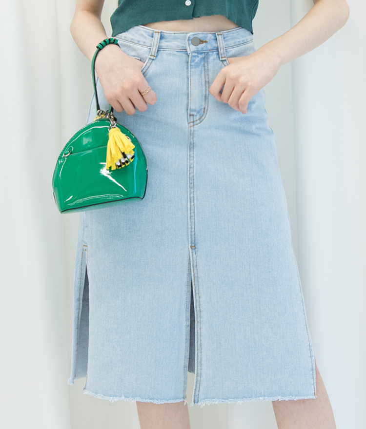 Slit Midi Denim Skirt