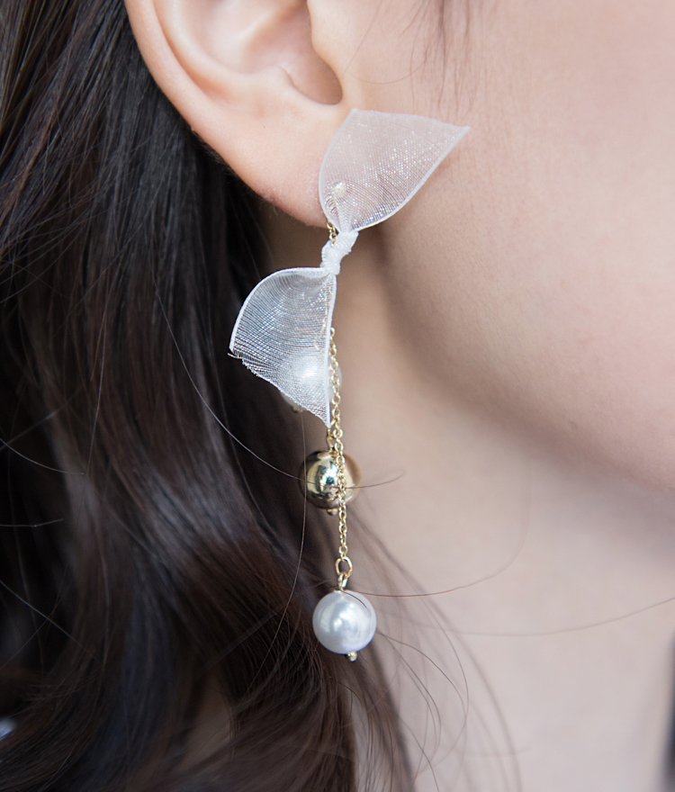 Lace Ribbon Accent Asymmetrical Earrings