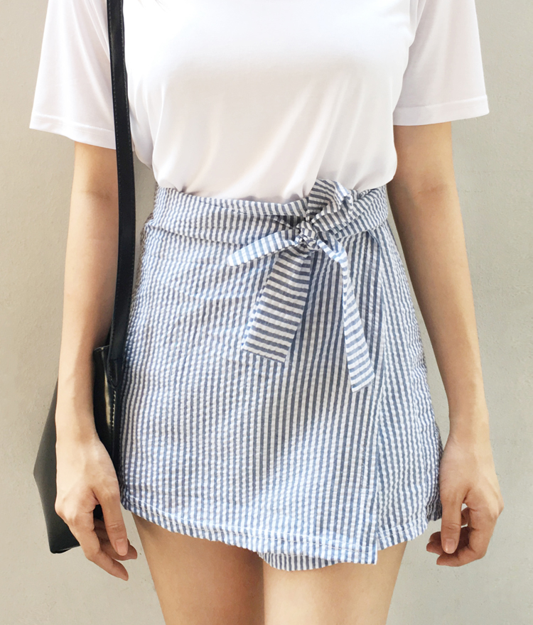Stripe Skirt Overlay Shorts