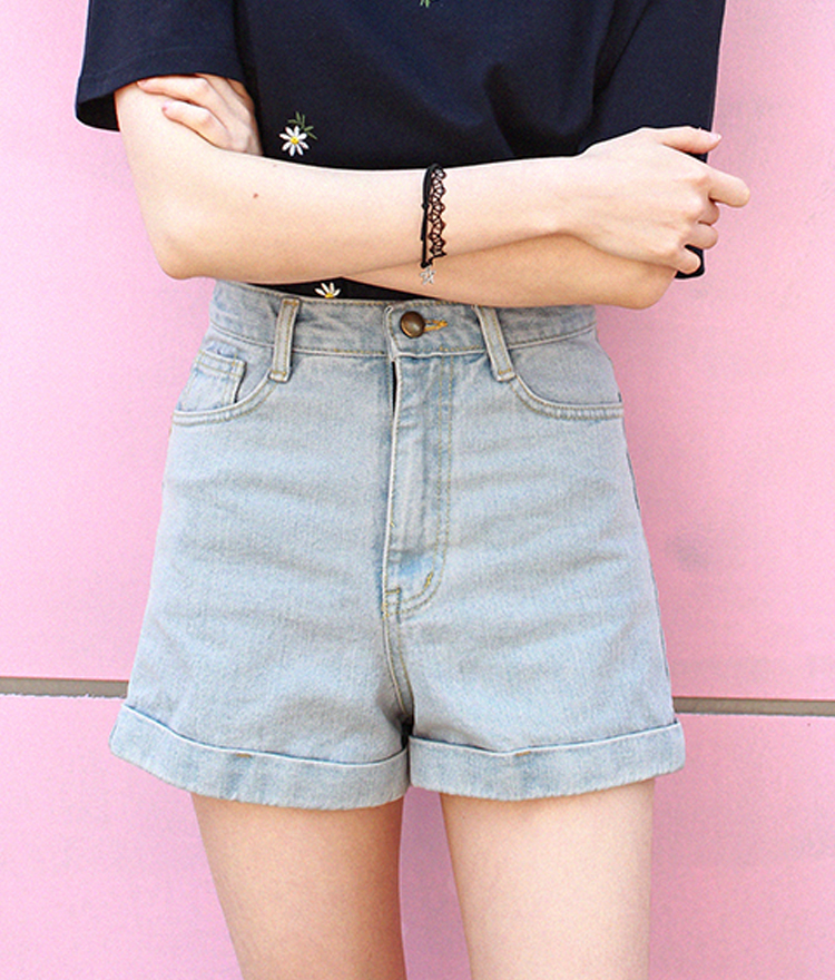 Denim Cuffed Hem Shorts