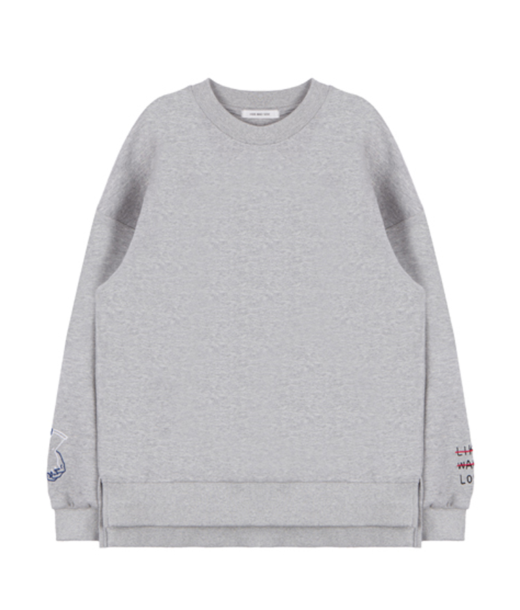 HIDE AND SEEKEmbroidered Sleeve Detail Loose Fit Sweatshirt