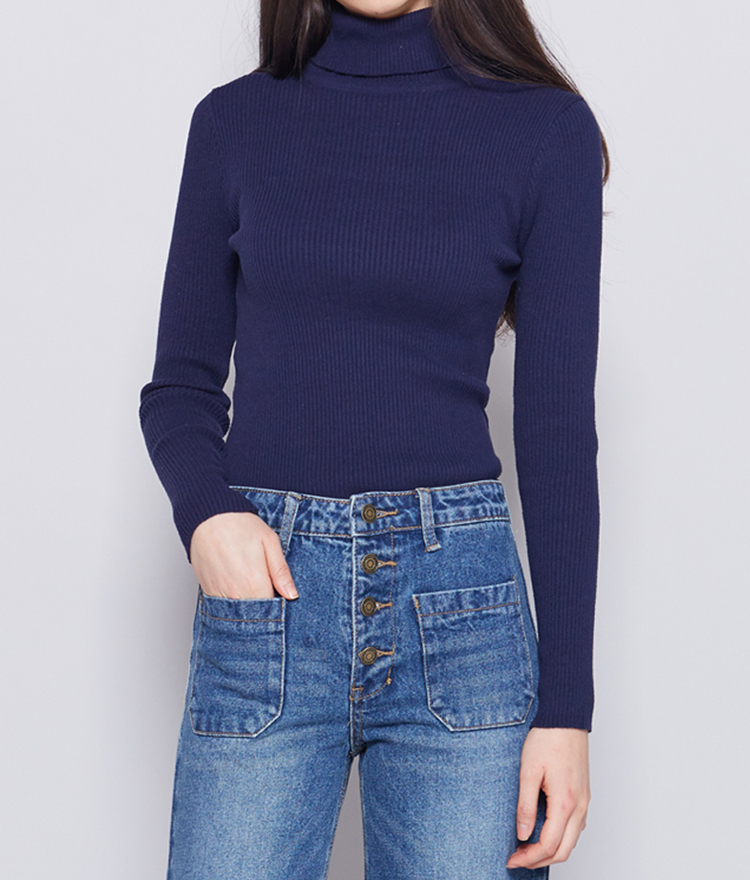 Solid-Colored Ribbed Knit Turtleneck Top
