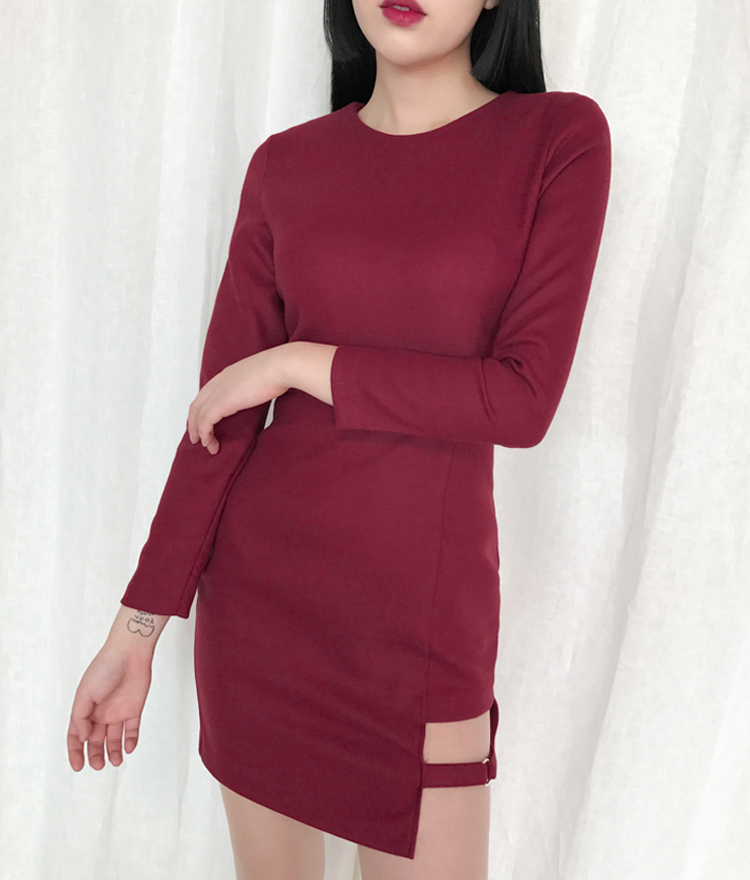 Cut-Out Hem Strap Detail Mini Dress
