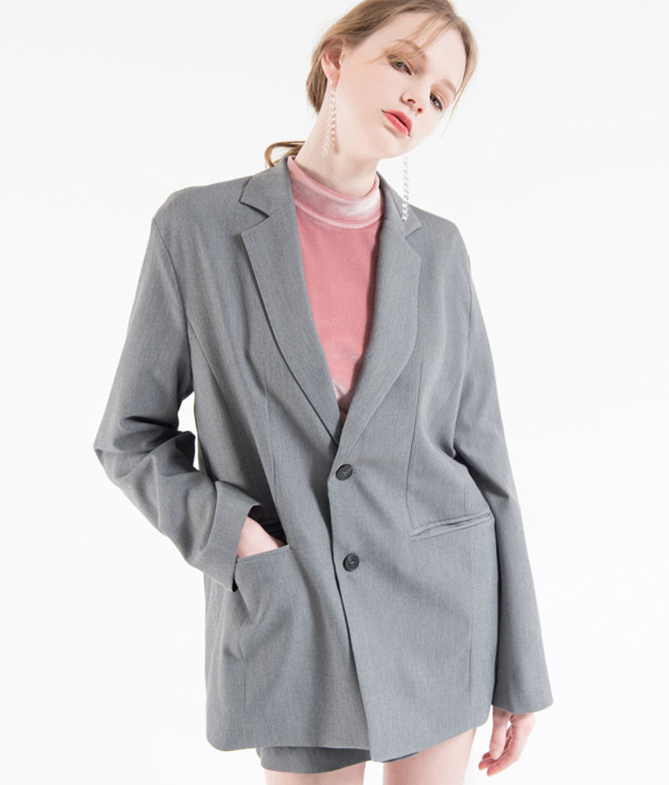 Basic Loose Single-Breasted Jacket