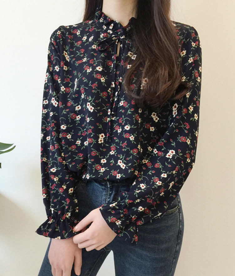 Flower Print Ruffled Neck Blouse