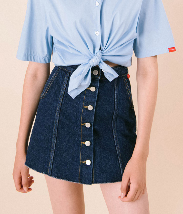 HEART CLUBButton-Down Denim Mini Skirt