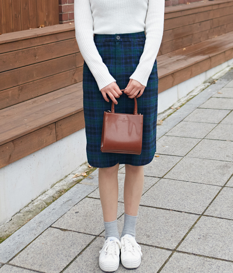 Slit Front Plaid Skirt