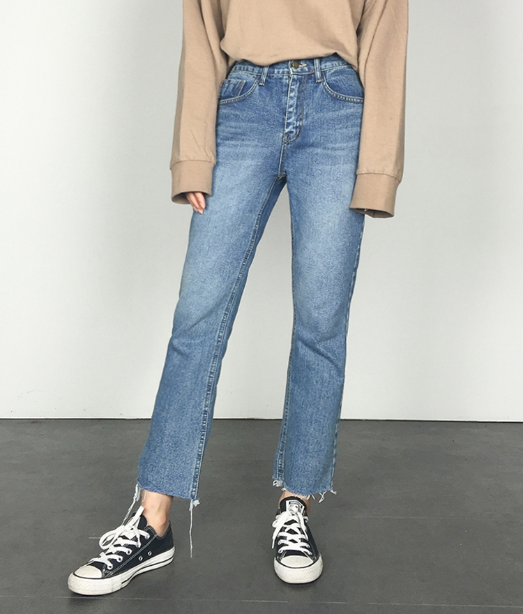 Raw Hem Faded Straight-Leg Jeans