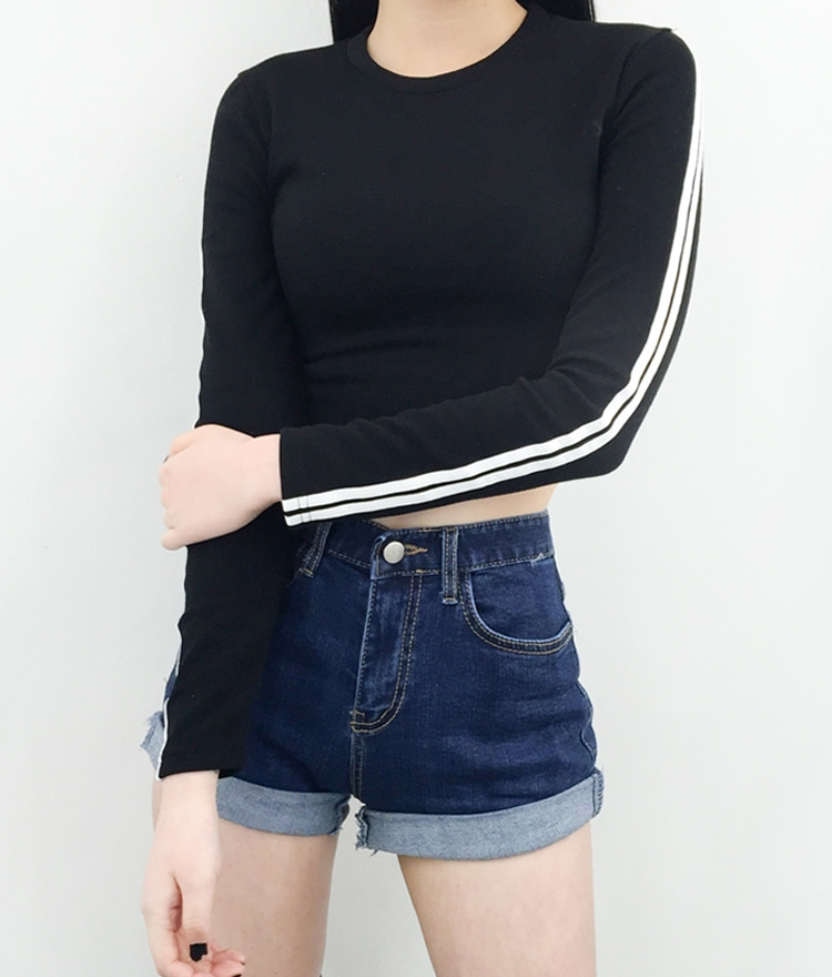 Striped Sleeve Panel Crop Top